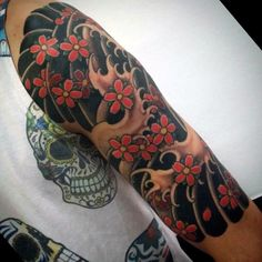 Cherry Blossom Japanese Tattoo On Mans Forearm