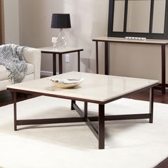 Avorio Faux Travertine Square Coffee Table | from hayneedle.com