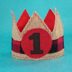 Lumber Jack birthday crown red black burlap boy by Hartranftdesign