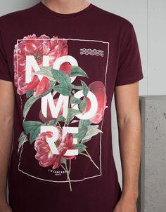 T-shirt print letras e flores - Homem - Bershka Portugal