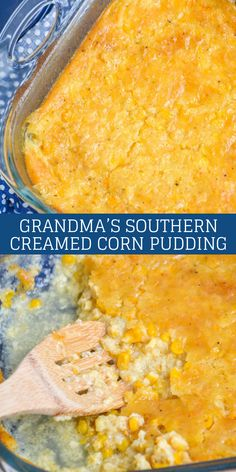 Looking for a new way to impress guests with a delicious side dish? Look no further than Grandma's Southern Creamed Corn Pudding. Surprisingly simple & using pantry staples, it pairs perfectly with just about any meat- especially around the Holidays. Creamed Corn Casserole Recipe, Corn Pudding Casserole, Creamy Corn Casserole, Corn Pudding Recipes, Easy Casserole Recipes, Corn Recipes, Easy Corn Pudding, Corn Pudding Southern, Burrito Casserole