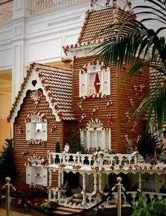Amazing Traditional Christmas Gingerbread House. Grand Floridian resort Walt Disney world Florida