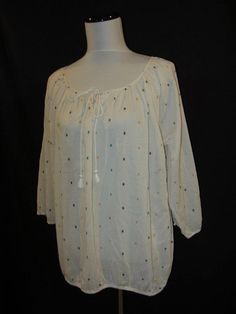 J Crew size Large Blouse Top Shirt Ivory Embroidery Ice Cream Peasant Boho #JCrew #Blouse #Casual