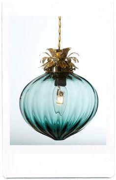 blue glass ornament light