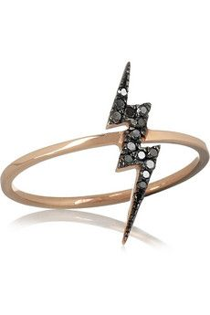 Lightning black diamond ring