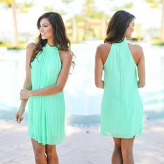 Look what dress is HERE! This best selling mint pleated dress! Shop at savedbythedress.com