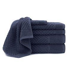 Briarwood Home Jacquard Bars 6 Piece Bath Towel Set 100% Soft Fade Resistant Cotton Bath Towels Hand Towels and Washcloths Mood Indigo