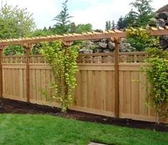 Privacy fence with decorative pergolas....adds lots of character to the yard, in addition to height and addition privacy!