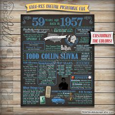 59th Birthday 1957 Chalkboard Poster -- A fun birthday poster filled with facts, events, and tidbits from 1957. Makes an excellent gift or party decoration! See below for how to customize your poster, as well as how to print it! RUSH ORDER AVAILABLE! See below for info. This listing is for a DIGITAL FILE only (not a physical print), so no shipping fees, or waiting days and days for just one print! I will EMAIL you a high-res JPG digital file (PDFs upon request). Because you are getting a…