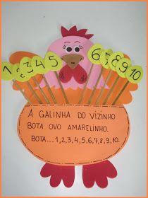 Jardim da Tia Dany: Números - A Galinha do Vizinho Phonics Games, Diy And Crafts, Paper Crafts, Kids Education, Professor, Kindergarten, Classroom, Children, 1