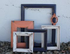 Set of 6 Navy Blue, Coral, and White Open Picture Frames - Upcycled Frame Set - Coral and Navy Nursery or Home Decor - Scatter Frames