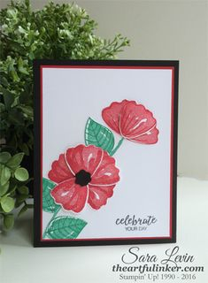Sara Levin | theartfulinker.com Handmade birthday card featuring Bunch of Blossoms ( Stampin' Up! ) Click for details.