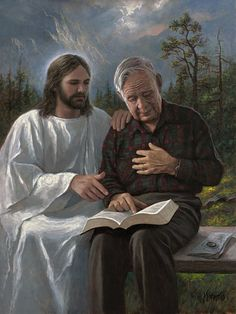 """www.jonmcnaughton.com This elderly gentleman lives not too far from me. He is always friendly and kind and willing to share his love for the Savior with any who will listen. As I was modeling him for this painting I said, """"imagine you are reading your scriptures and you feel something special burning inside you witnessing to you that what you are reading is true. At this moment the Lord Himself is sitting beside you and touches you on your shoulder. """""""