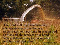 Deuteronomy 28:12 with Corn Field Harvest, print, framed print, canvas print, tin print, acrylic print, wall art, wall décor, photo art, greeting cards, Scripture print, Scripture art, Christian art, Christian print
