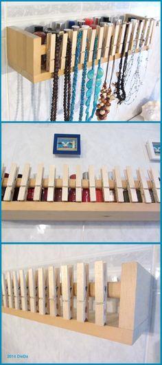Gewürzregal von IKEA (spice rack) Bekväm und Holz Wäscheklammern (wooden clothespins), Badezimmer #3, Regal für Nagellack (nail lacquer) und Ketten (necklace), Schmuckaufbewahrung, ikea hack