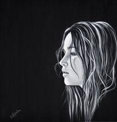 "Saatchi Art Artist Richard Garnham; Painting, ""Jennifer Lawrence"" #art Shadow Painting, Oil Painting On Canvas, Jennifer Lawrence Images, Photorealism, American Actress, Saatchi Art, Original Paintings, Fine Art, Black And White"