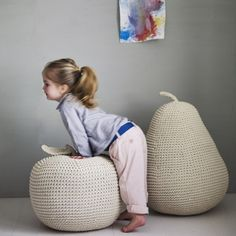 James' Giant Apple Pear Pouffe // wonderful for a nursery or kid's room // Cool Baby, Baby Love, Little People, Little Ones, Puff Gigante, Crochet Home, Kid Spaces, Kids Decor, Decor Ideas