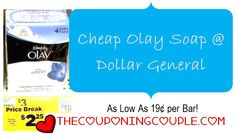 Dollar General Deal on Olay Bar Soap! Just $0.19 per bar!  Click the link below to get all of the details ► http://www.thecouponingcouple.com/dollar-general-deal-on-olay-soap-75-per-4-pack/  #Coupons #Couponing #CouponCommunity