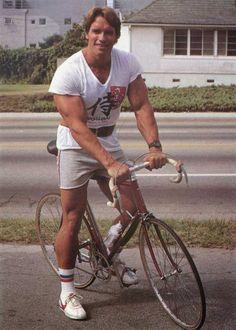 Arnold Schwarzenegger on a bike 1970s | Rare and beautiful celebrity photos
