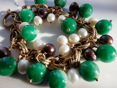 Green Stone & Pearl Vintage Charm Bracelet Freshwater and Chocolate Pearls Goldplated Repurposed Upcycled on Etsy, $34.99
