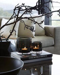 Gullatoppen • Slettvoll Dream Home Design, Home Interior Design, Interior And Exterior, Interior Decorating, Coffee Table Styling, Decorating Coffee Tables, Coffee Table Candles, Black Candles, Black Decor