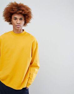 ASOS   ASOS Oversized Sweatshirt With Deep Neck Trim in Yellow