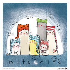 Nite Nite Poster, Kutukedi Collection (family,wall art, room picture, for mom, nursery art, digital print, catattack)