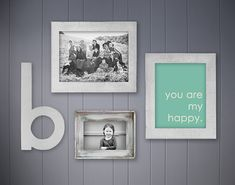 Gray and aqua gallery wall from EeeBee on etsy...