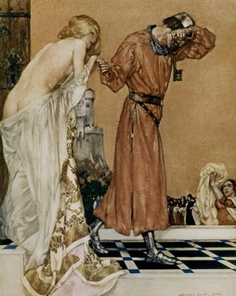 "The design by William Russell Flint (1880-1969) for Book XI, Chapter I of ""Le Morte d'Arthur: The Book of King Arthur and his Noble Knights of the Round Table"" (1910-11) - it is associated with the following passage:   Then the people brought her clothes. And  when she was arrayed, Sir Launcelot  thought she was the fairest Lady of the  world, but if it were Queen Guenever."