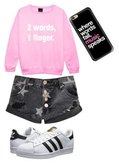 """""""Today is not the day/when mad at bae"""" by cdoggg on Polyvore featuring Casetify, adidas Originals and Glamorous"""