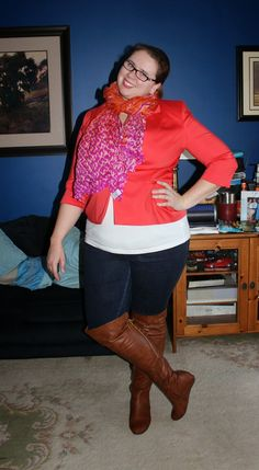 What Mama Wears: Poppy blazer, silk scarf, t-shirt, jeggings, over the knee boots. Mom fashion, Plus size fashion.