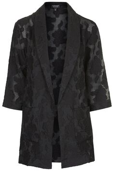 Love this jacket - longer length, bracelet sleeves, great texture and light weight. Plus black is good. Floral Jacquard Duster Jacket