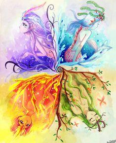 Quattuor Elementum by Aedjy on DeviantArt – girl power Mythical Creatures Art, Fantasy Creatures, Yuumei Art, Elemental Magic, Arte Sketchbook, Magic Art, Elements Of Art, Moon Art, Anime Art Girl