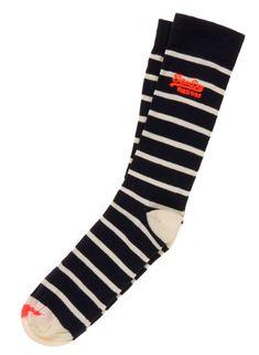 e8fe317652cc SUPERDRY Gifts For Men Black Ivory Stripes Everyday Socks One Size UK 7-11