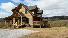 Shed and gable log home porches