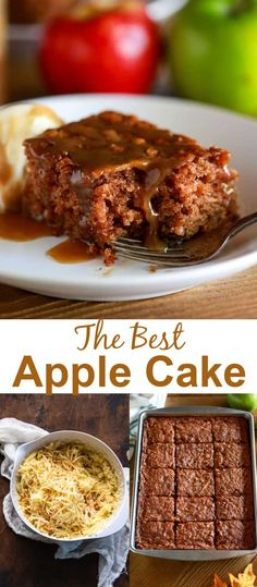 Incredibly delicious Apple Cake made with fresh grated apples and spices, topped with homemade caramel sauce and a scoop of vanilla ice cream. This is a treasured family recipe! via @betrfromscratch Apple Cake Recipes, Best Cake Recipes, Apple Desserts, Yummy Recipes, Delicious Desserts, Cooking Recipes, Favorite Recipes, Yummy Food, Easy Homemade Cake
