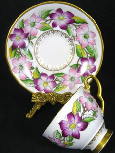 4:00 Tea...Royal Stafford...Pink and Purple Clematis encircle this teacup and saucer set