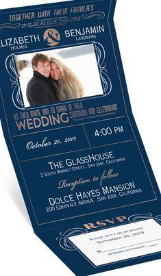 Modern poster style wedding invitation shown in Navy