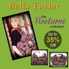 """Hurry while supplies last!    Beautiful handbags, travel, and accessories from the Nocturne Collection by Bella Taylor. Choose from the """"Everyday"""" style to the popular """"Sarah"""" bag, and don't forget the Small Wallet to fit perfectly inside any of the hand bags, Designed with a modern paisley in Golden Rod, Berry and Medium Kelly. The perfect Christmas Gift! Visit our """"Special Offers"""" page today for other items on sale and start saving today!  http://www.rusticlivingonline.com/special-offers.html"""