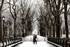 Romantic engaged couple hugging in Central Park, New York - the Mall in the Winter | Engagement photoshoot | NewYork Wedding Photographers | NYC, NY | Anna Rozenblat photography | www.AnnasWeddings.com
