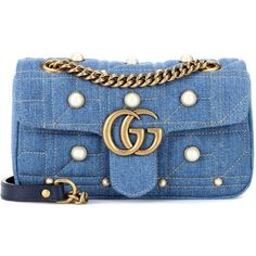 Gucci GG Marmont Denim Shoulder Bag ($1,930) ❤ liked on Polyvore featuring bags, handbags, shoulder bags, blue, shoulder bag handbag, denim purses, gucci handbags, blue handbags and denim handbags