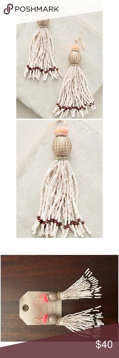 "Anthropologie Vacation Tassel Drop Earrings NWT Vacation Tassel Drop Earrings Anthropologie ❤️.                                      Brass, glass stones, zinc, polyester Imported Dimensions 4""L, 0.75""W Anthropologie Jewelry Earrings"