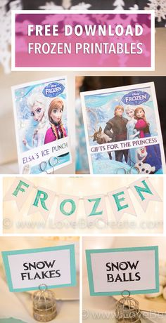 frozen downloads - free DIY for birthday party signs and banners