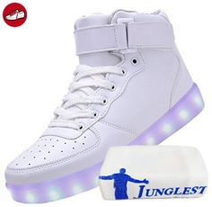 (Present:kleines Handtuch)Weiß 39 EU LED für Damen High-top Schuhe Farbwechsel Leuchtend Aufladen Turnschuhe Farbe 7 Sneaker Hoch Unisex SFFkDIOsj