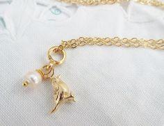 Kette Gold Spatz vergoldet Perle von Pearly´s Schatzkammer auf DaWanda.com
