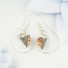 Silver flower earrings polka dot lily earrings steel gifts