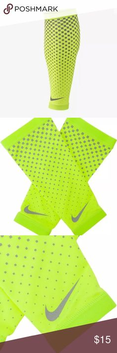 Nike Dri-Fit 360 Calf Sleeves Ultra Reflective S/M Nike Dri-Fit 360 Calf Sleeves Ultra Reflective Running Walking Volt/Gray Sz S/M   Brand : Nike   Color : Volt/Grey   Size : S/M  UPF 40+ sun protection.  Elastic band: For a secure, comfortable fit.  Dri-FIT fabric: Wicks sweat to keep you dry.  Material: 88% Polyester, 12% Spandex.  Reflective details: For visibility. Nike Other