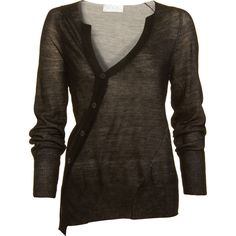 A.L.C. Double Layer Cardigan - Black size Small (€140) ❤ liked on Polyvore featuring tops, cardigans, shirts, sweaters, women, black sheer shirt, black cardigan, sheer shirt, v neck shirts and v neck cardigan