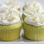Pistachio Cupcakes with Vanilla Buttercream Frosting & White Chocolate Shavings