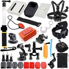 CHUNNUO Accessories Bundle Kit for Gopro Hero 4 3 3 2 1 SJ4000 5000 6000 XiaoMi YI Gopro Camera Accessories kit for Swimming Rowing Skiing Climbing Biking and Other Outdoor Sports * Details can be found by clicking on the image.